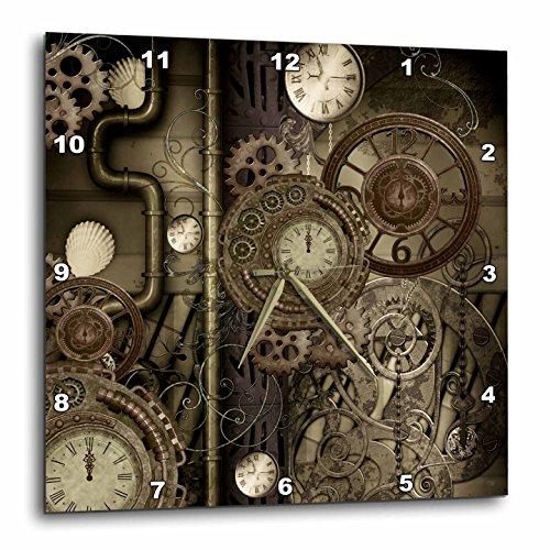 3dRose Heike Köhnen Design Steampunk – Steampunk Design, Clocks and Gears – Wall Clocks