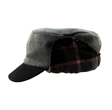 mens baseball hat with ear flaps cap womens plaid lined warm winter cadet grey