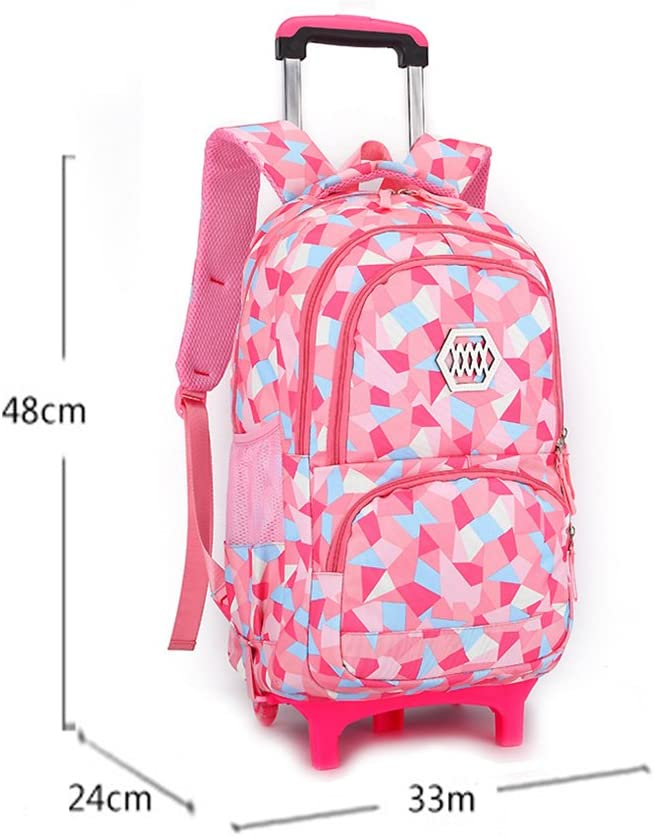 UEK Kids Rolling School Backpack Trolley Carry on Luggage Girls Schoolbag