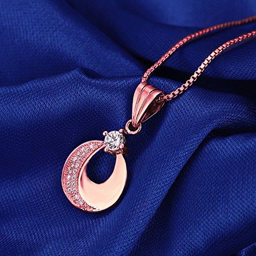 JiangXin juego de joya la arracada el colgante el collar de 18K oro rosa chapado en forma de media luna zirconia cúbica blanca para chicas