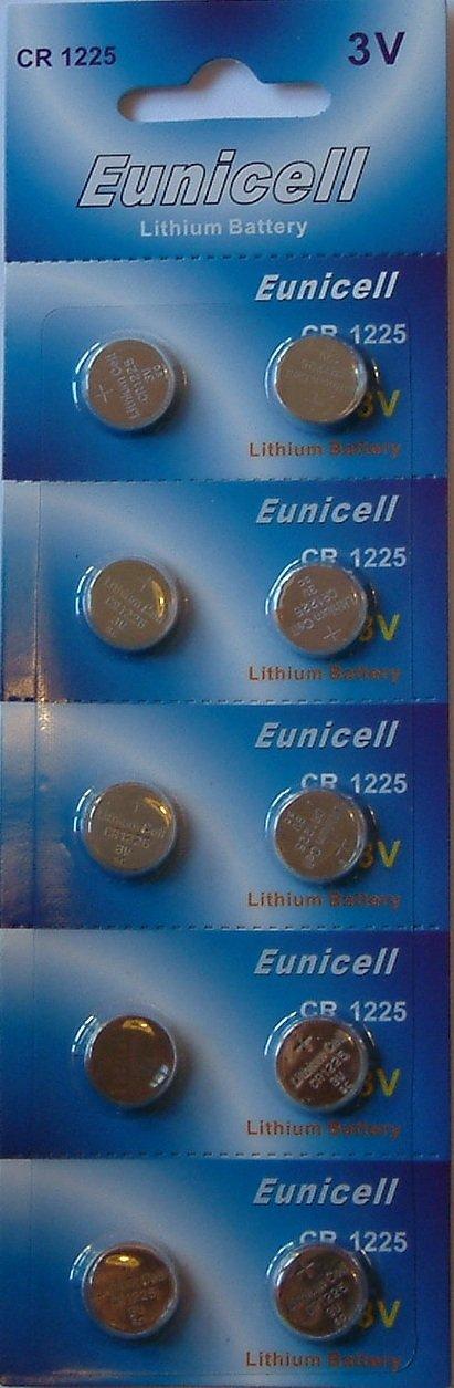 10x Eunicell CR12253V batterie al litio DL1225ECR1225, BR1225DL1225B, BR1225–1W, CR1225–1W, KCR1225LM12255020LC, L30, BR1225-1W CR1225-1W