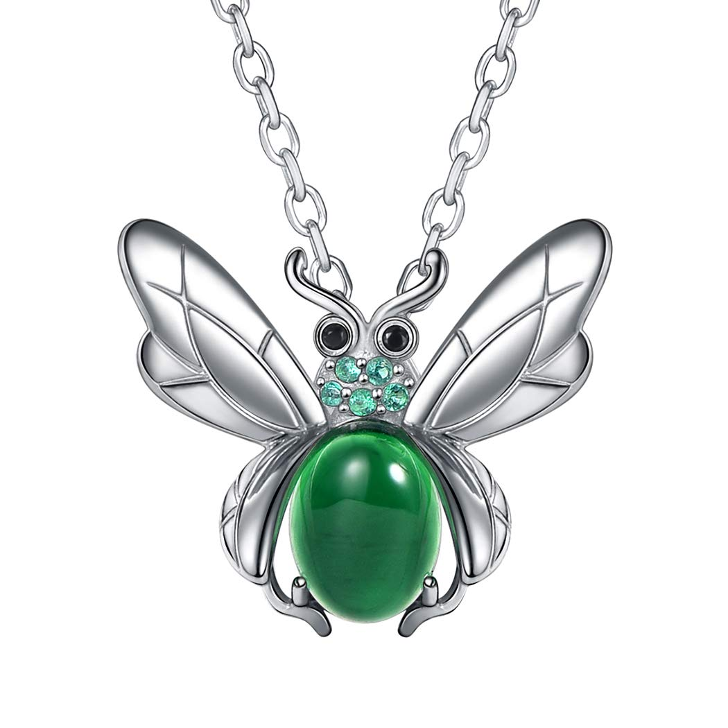 Green Jade Necklace Crystal Pendant Cubic Zirconia Inlaid Antique Silver Wing Flying Beetle Animal Jewelry