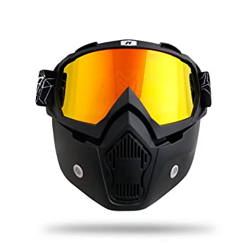 NENKI NK-1019A - Máscara de motocicleta para cascos vintage, color negro mate