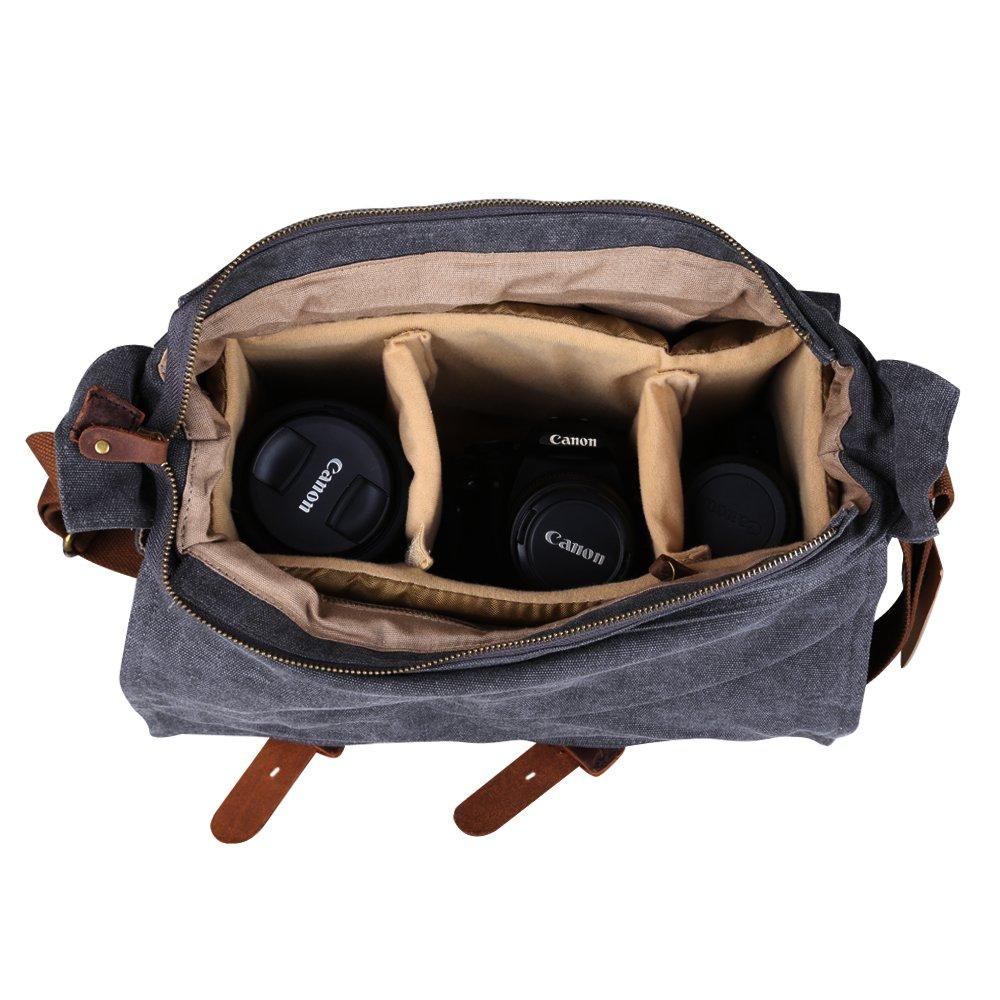 b514161b28aa Kattee Leather Canvas Camera Bag Vintage DSLR SLR Messenger Shoulder Bag  XZ182BK