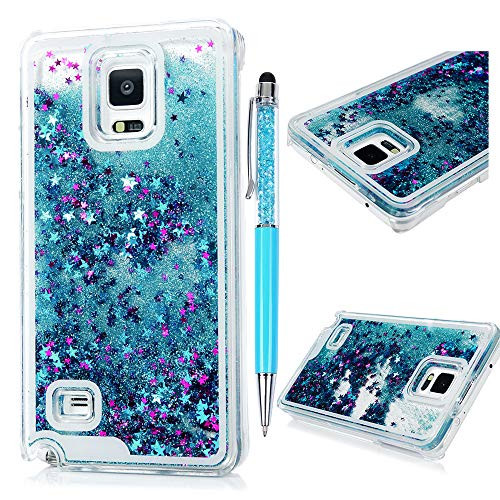Note 4 Case,Galaxy Note 4 Case - Flowing Liquid Floating Bling Glitter Sparkle Stars Hard PC Cover Cute Creative Design Lightweight Ultra Slim-Fit Protective Cover by Badalink - -