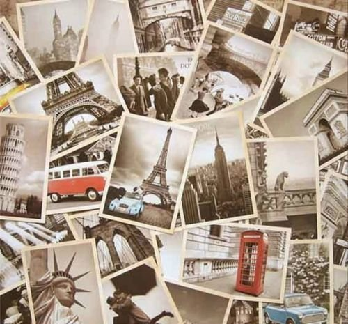 erican architectural style Assembly Postcards Retro Old Travel Nostalgia Post Card for Worth Collecting ()