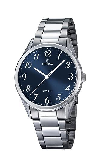 Festina Reloj de Hombre de Cuarzo con Esfera Analógica Azul Pantalla y Plata Pulsera de Acero Inoxidable F16875/2: Amazon.es: Relojes