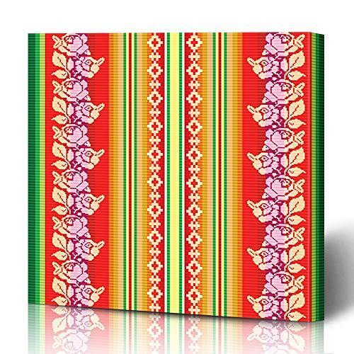 Ahawoso Canvas Prints Wall Art 12x16 Inches Inca Bolivian South American Pattern Color Abstract Alpaca America Bolivia Indian Decor for Living Room Office Bedroom