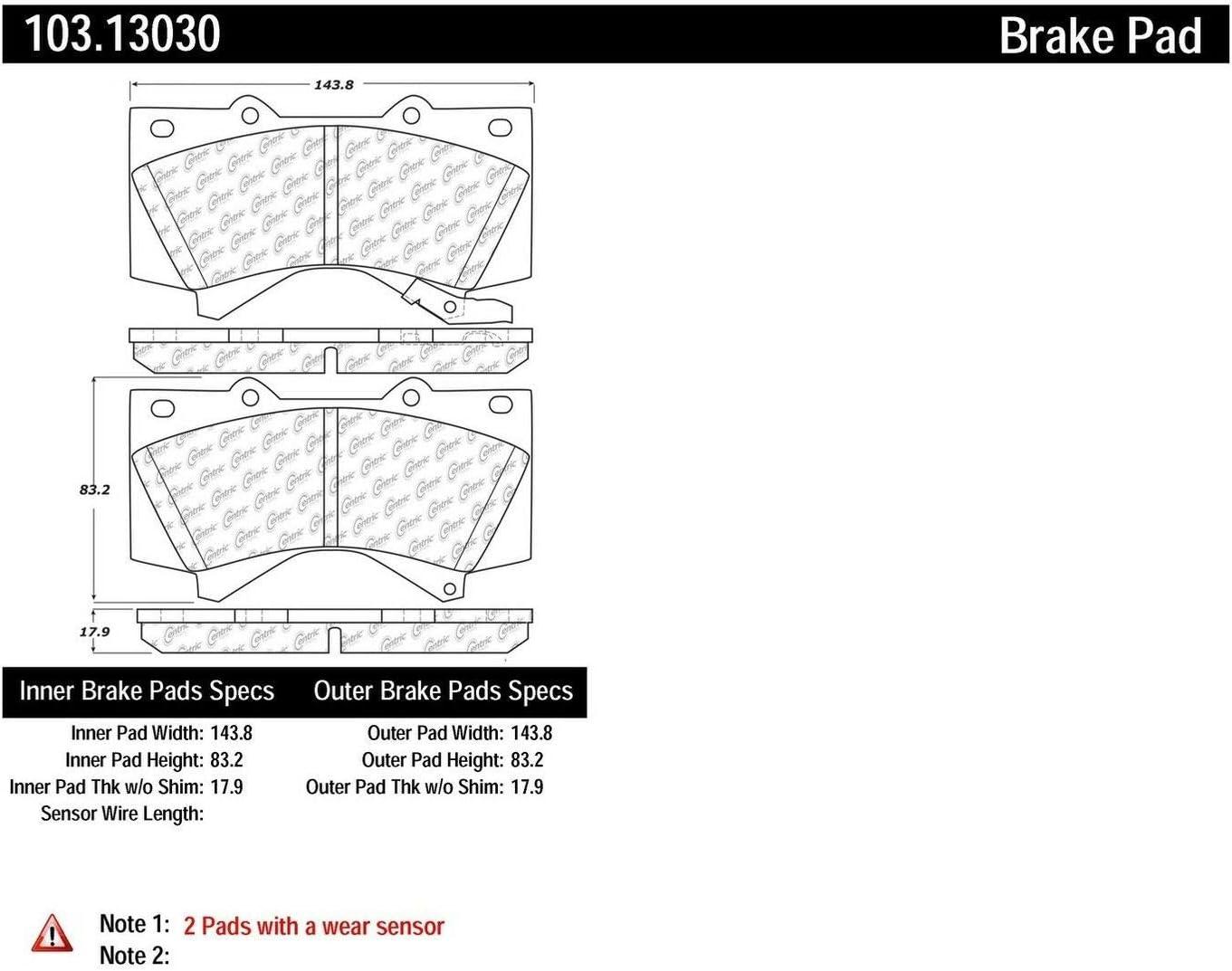 Centric 103.13390 Brake Pad