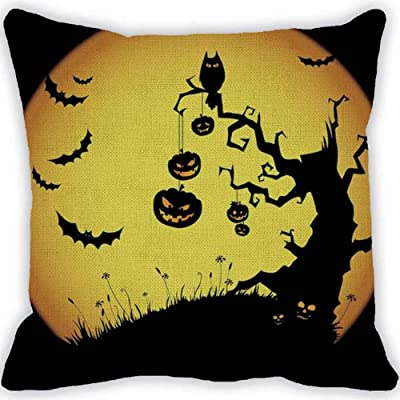 Challyhope Halloween Pumpkin Square Pillow Cover Cushion Case Pillowcase Zipper Closure Home Decor (Beige B | Pumpkin & Flying Bat, Owl) 85%OFF