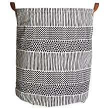 SODIAL(R) Semi circle geometry Pattern Baby Kids Toy Clothes Canvas Storage Bag With Leather Handles For Room Decor Storage Barrel(white+black)