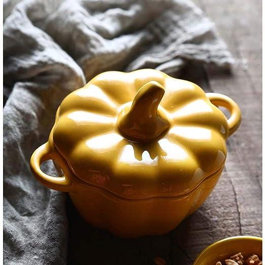 XIUXIU Cuenco de Calabaza Cuenco de cerámica Cuenco de Sopa pequeño Cuenco de Fruta con Tapa Tazón de arroz de hogar Postre de Comida Occidental (Color ...