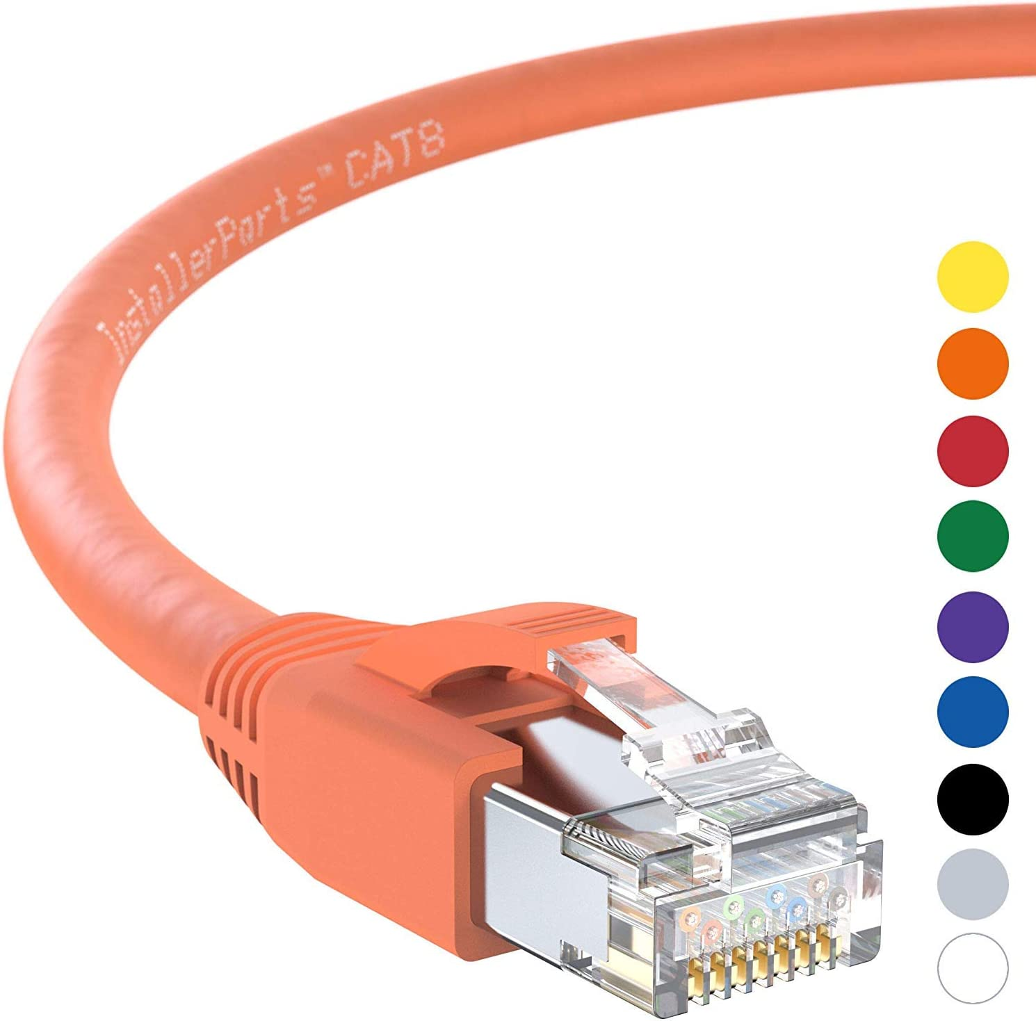 50 Pack Professional Series 24AWG 40Gigabit//Sec Network//High Speed Internet Cable for Router 1 FT InstallerParts Ethernet Cable CAT8 Cable Yellow Modem,Gaming//2000 MHZ