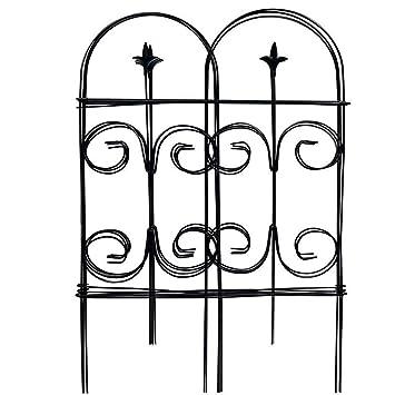 Amagabeli 32 Pulgadas por 10 pies Inoxidable Negro Metal Jardín Valla – 7 Paneles con Plegable