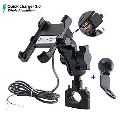 Whole Aluminium Motorcycle Phone Mount Handlebar 3.4A Quick Charge USB Socket Waterproof Motorbike Cellphone Holder 360° Rotation Bracket for iPhone/Huawei/Samsung on 10-24V Vehicles: Automotive