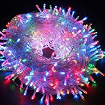 Christmas String Lights, FULLBELL 33ft 100 LEDs with Controller Fairy Twinkle Lights Decoration for Chirstmas Tree,Garden,Multi Stings Connectable(Transparent Wire)(Multi-Color)
