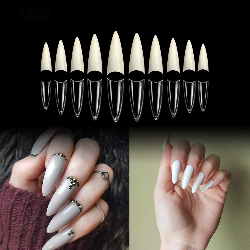 beYou 2Pack Natutal/Clear 2 Color Long Stiletto 1000 Nail Tips(Clear 500tips/ Natural 500tips) 10Sizes,Long Ballerina Nails, Acrylic Nail Tips (Long Stiletto) by BE.YOU.