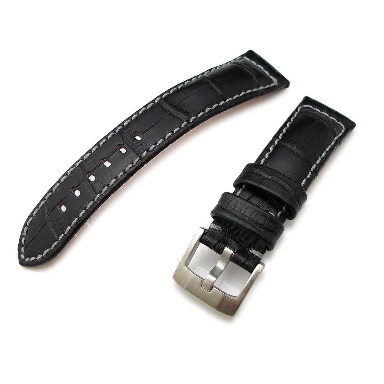 20 mm crococalf (Croco Körnung) matt schwarz Uhrenarmband mit grauer Naht
