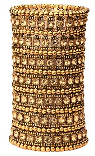Antique Gold Bangles - YACQ Jewelry Women's Multilayer Crystal Wide Stretch Cuff Bracelet 7 Row
