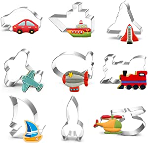 Transportation Vehicle Cookie Cutter Set - 9 Piece Car, Plane, Train, Sailing boat, Steamship, Stainless Steel Cookie Candy Food Molds, Rocket, n sHelicopter, Spaceship, Balloohip