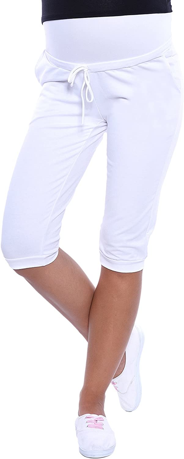 MijaCulture Capri Relaxed Maternity Cropped Trousers Pants Short 4090