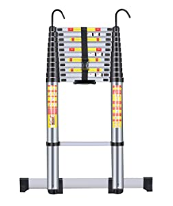 Handvoll Telescoping Ladder 15.5ft Aluminum Extension Folding Ladder, Portable Heavy Duty Multi-Purpose Telescopic Ladder with Slip-Proof Feet (Renewed)
