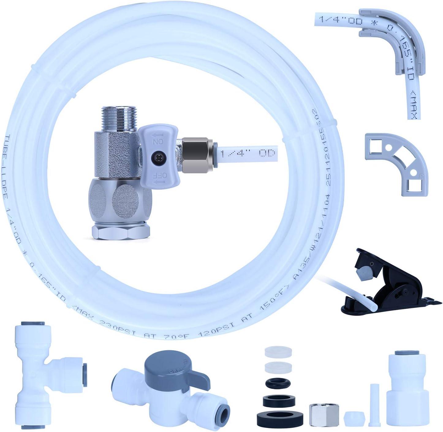 YUHX Water Filtration Ice Maker Fridge Installation Kit with Shut-Off T Valve,1/4