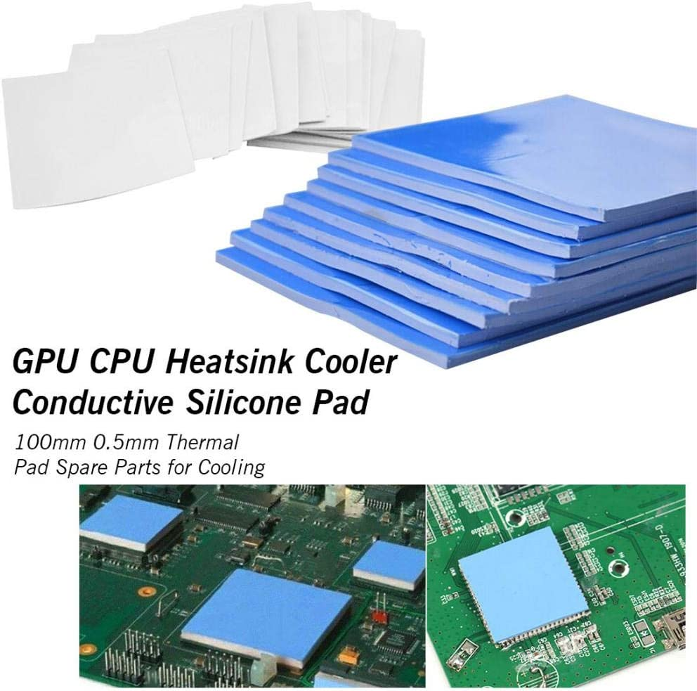 100mm100mm0.5mm Thermal Pad GPU CPU Heatsink Cooling Conductive Silicone Pad for Graphic Cards Chips Bridge Memory White