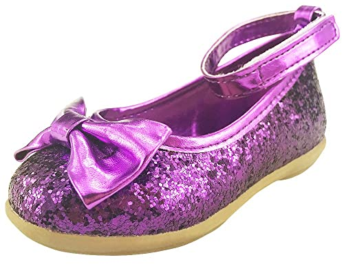 ad6982567c2 Flower Girl s Glitter Purple Sparkly Ankle Strap Dress Shoes Toddler Little  Kids ...