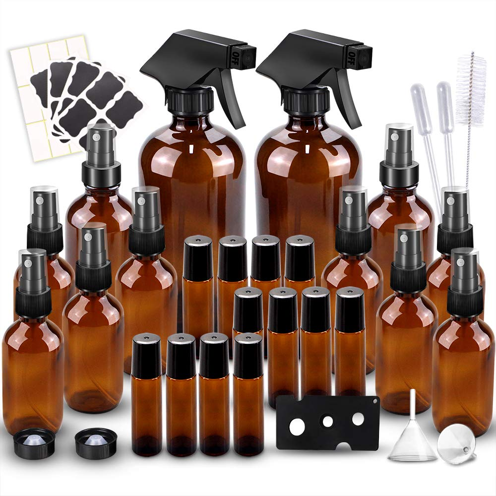Glass Spray Bottles Kits, BonyTek Empty 12 10 ml Roller Bottles, 12 Amber Essential Oil Bottle(216oz,24oz,82oz) with Labels for Aromatherapy Cleaning Products
