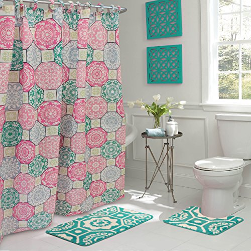 Bath Fusion Addison 15-Piece Bathroom Shower Set, Pink/Blue (Rug Sets Pink Bathroom)