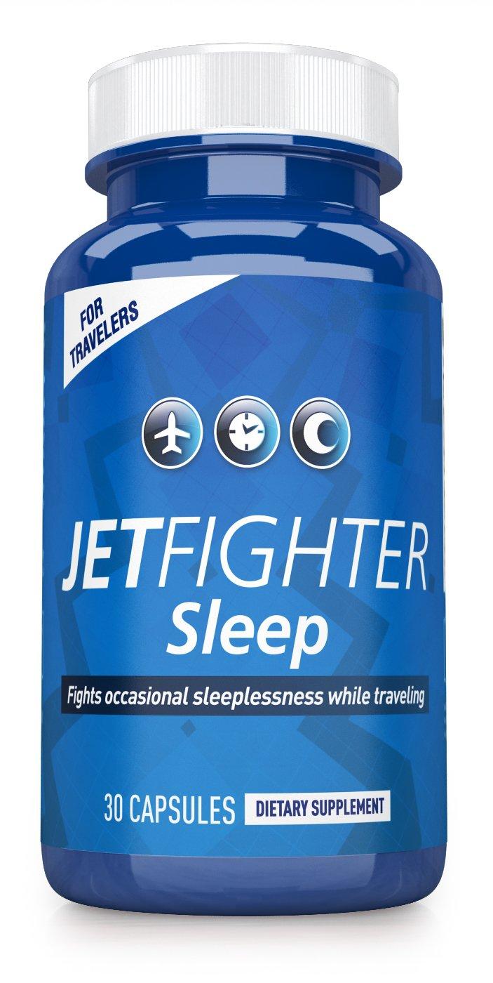 Jet Lag Pills - JetFighter Sleep – 30 capsules - Jet Lag Relief Supplement – Fights Sleeplessness – Helps Regulate Circadian Rhythm – Contains Melatonin - Works Best with JetFighter AWAKE