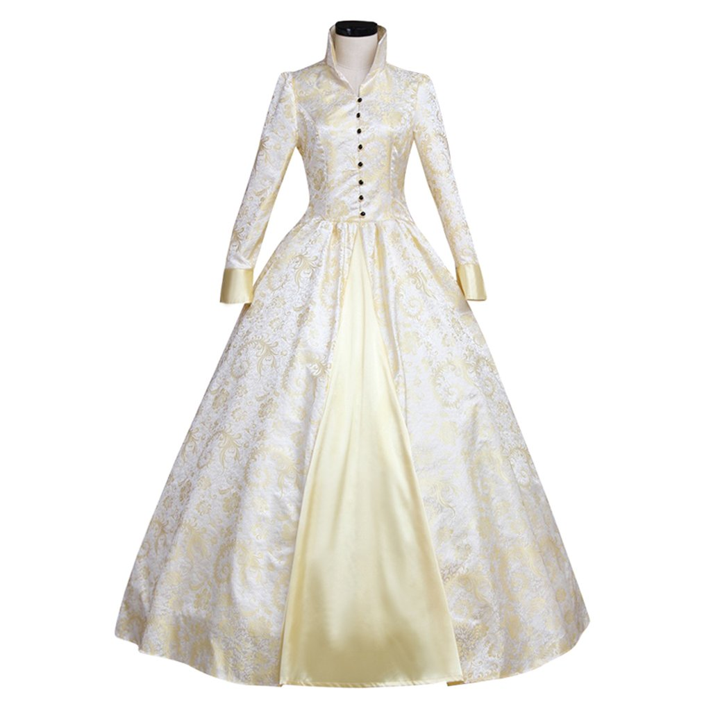 1791's lady Women's Victorian Rococo Dress Inspiration Maiden Costume (XXL:Height67-69 Chest46-48 Waist39-41, White)