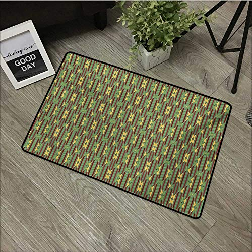 Door mat W16 x L24 INCH Kente Pattern,Retro Revival Diamond Line Pattern with Vertical Stripes,Sea Green Mustard and Ruby Our Bottom is Non-Slip and Will not let The Baby Slip,Door Mat Carpet
