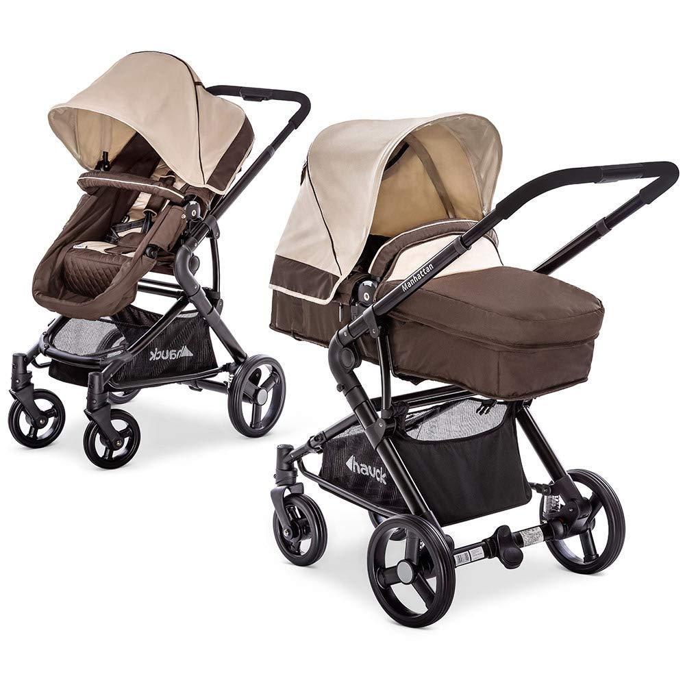 Hauck Kombi-Kinderwagen Manhattan | Kinderwagen-Set mit Babywanne und Sportwagen Aufsatz - Chocolate Almond Beige M1001