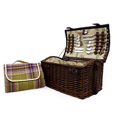 Corporate Valentines Christmas Wedding Gift ideas for Christmas Mothers Day Mum Birthday Business gifts Anniversary Paignton 4 Person Wicker Picnic Basket Set with Purple Tartan Waterproof Blanket