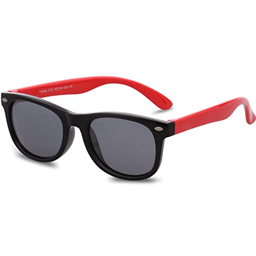 97065f195fa Amazon.com  SojoS Kids Flexible Rubber Kids Polarized Wayfarer Sunglasses  Age 3 to 12 SK205 With Red Frame Grey Lens  Clothing