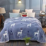HOLY HOME Cashmere Blanket Soft Cozy Thick Suitable All Seasons Bedclothes 100% Polyester Anti-bacteria Healthy & Eco-friendly 60''x80'' Bedclothes Lovely Deer Design Blue
