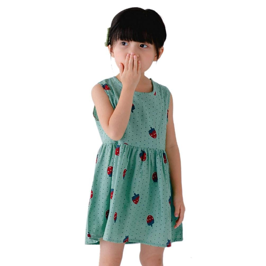 Vovotrade Toddler Girls Princess Dress Party Wedding Sleeveless Printed Strawberry Dresses (2T, Green)