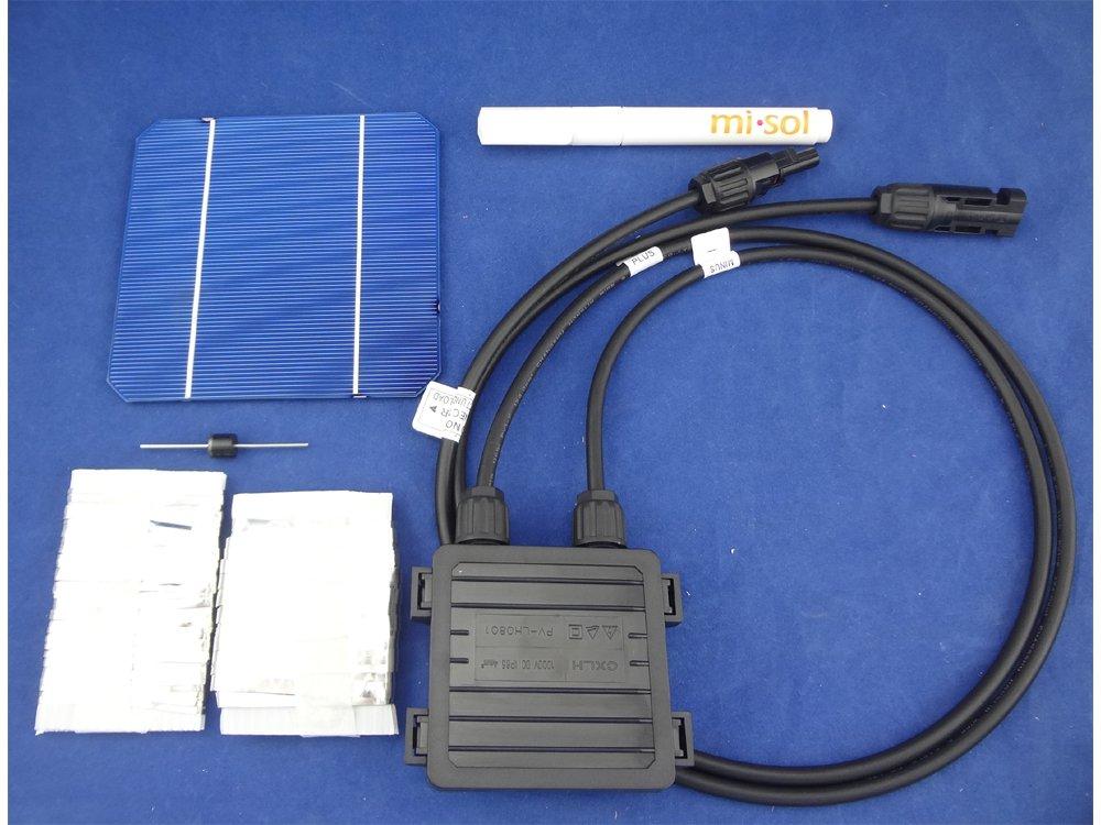 MISOL 40 pcs MONO 5x5 solar cells DIY kit for solar panel, flux pen, diode bus tabbing