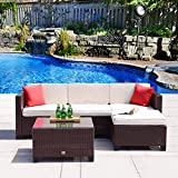 Cloud Mountain 5PC Rattan Wicker Sofa Set Cushioned Sectional Outdoor Garden Patio Furniture, Cocoa Brown Rattan with Creamy White Cushions