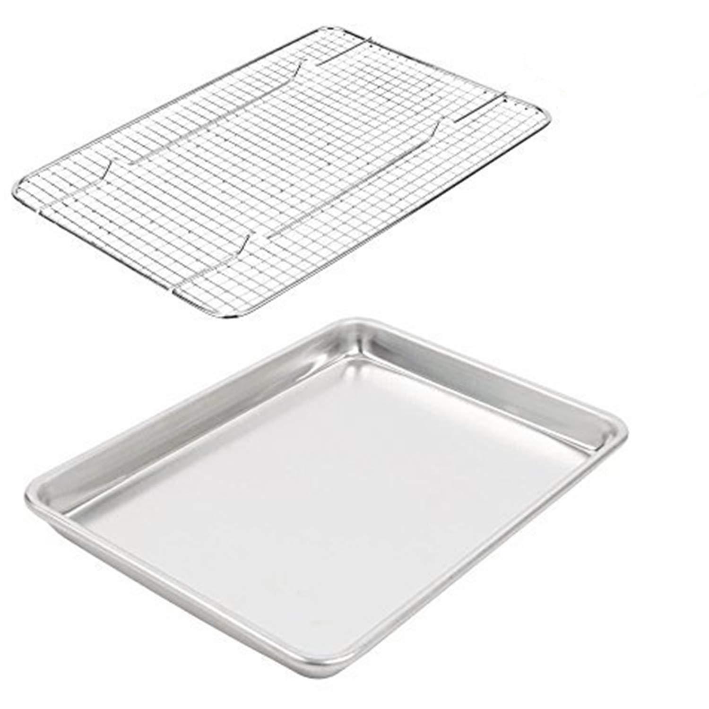 Nelmis Quarter Sheet Pan Rack Set - Aluminum Cookie Sheet Baking Sheet Set Oven Safe Stainless Steel Cooling Rack