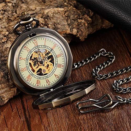 YXZQ懐中時計、ユニークな中空ローマメカニカルアンティークスパイダー刻印ネックレスフォブユニセックスメンズヴィンテージペンダント時計