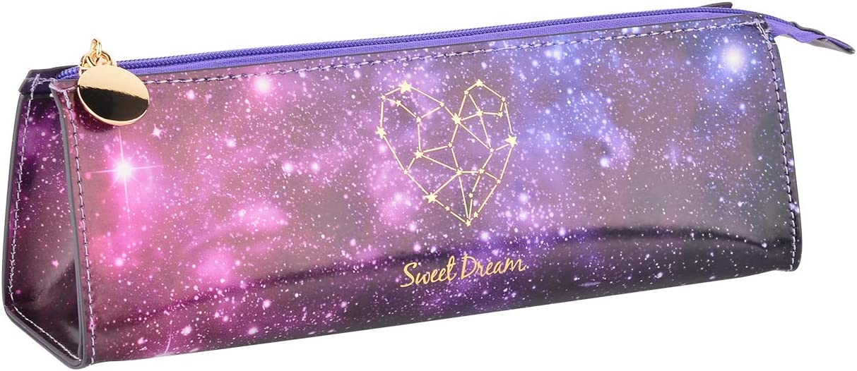 Bluecell Galaxy Pencil Pen Case Pouch Holder with Zipper PU Office Storage Organizer Coin Pouch Makeup Cosmetic Bag for Middle High School Office College Girl Adult Simple Storage (Purple)