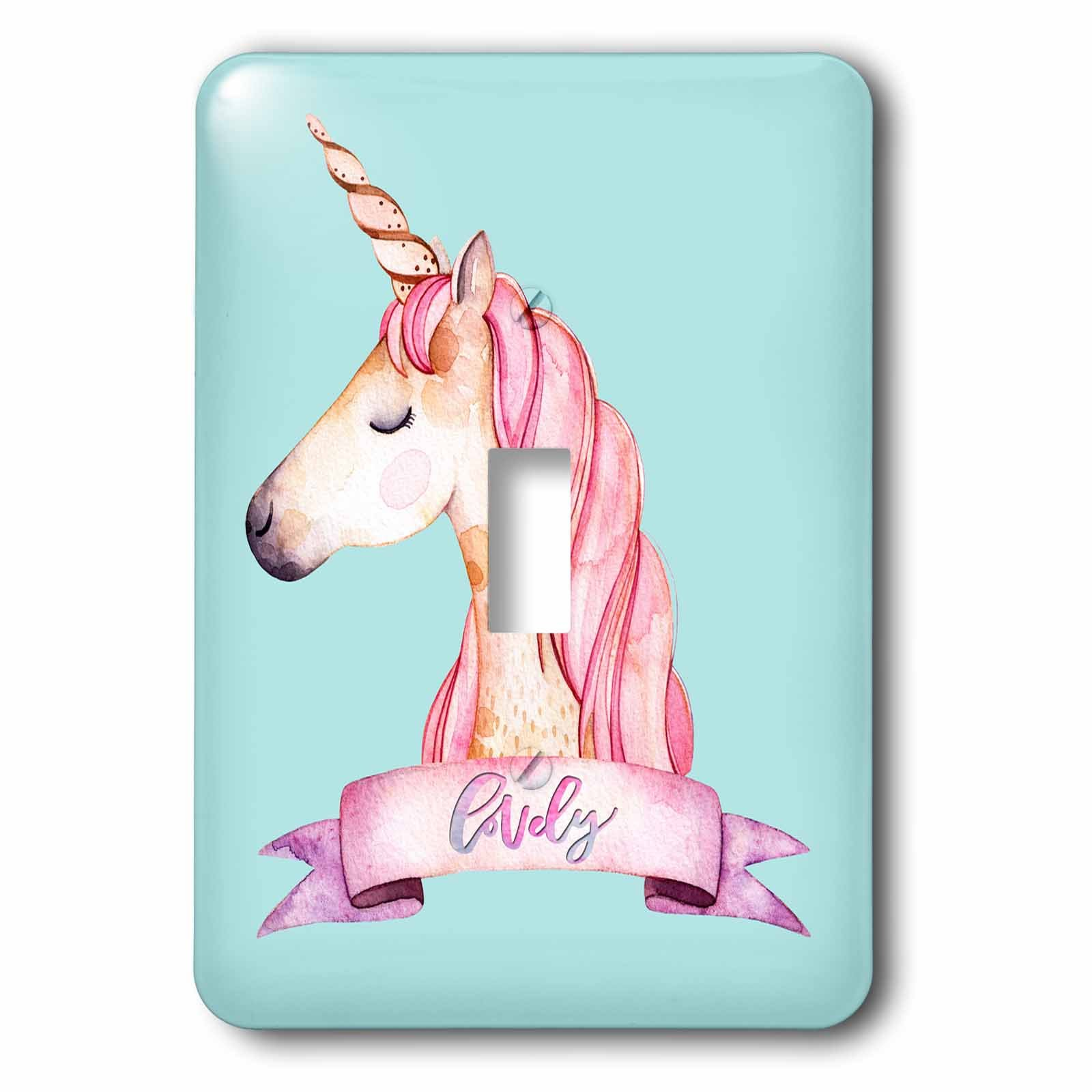 3dRose Uta Naumann Watercolor Illustration Animal - Blue Girl Unicorn Illustration and Pink Typography -Lovely - Light Switch Covers - single toggle switch (lsp_268873_1)