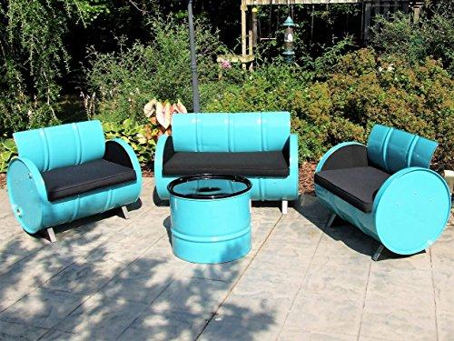 Drum Works Furniture 4 Piece Tucson Indoor/Outdoor Garden Patio Conversation Set (Outdoor Tucson Furniture Patio)