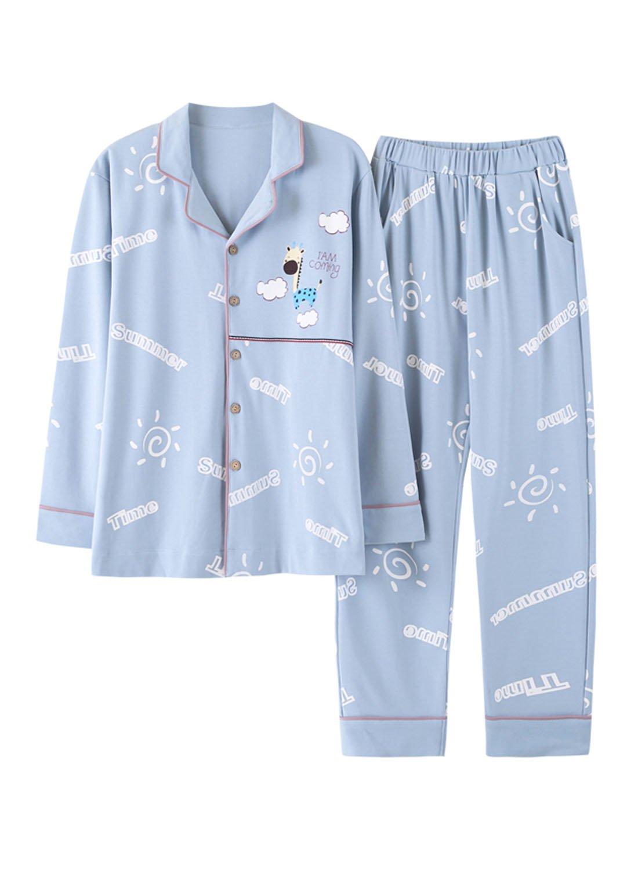 Big Boys Long Sleeve Cotton Pajamas Youth Junior Sleepwear Set(10y-18y)