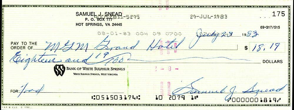 Sam Snead Authentic Autographed Signed 3x8.5 Check #175 SKU #135146 Golf Cut Signatures