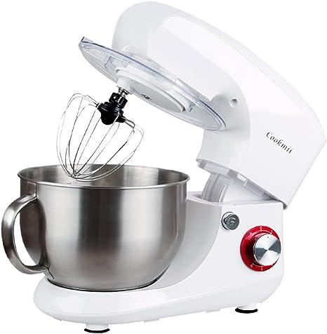 cookmii Robot de cocina multifunción con cuenco en inoxidable de 6.5L (accesorios batidor, amasadora, gancho, 6 velocidades, 1800 W) 5.5L beige: Amazon.es: Hogar