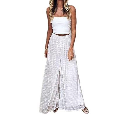 e2ec1c95b1b7 Hose damen Kolylong® Frauen Elegant Hosen mit Punkten Sommer Chiffon Weite  Hose Vintage Hohe Taille